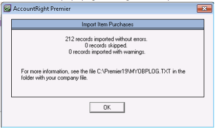 how to import items into myob accountright live