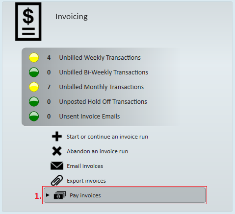begin by expanding the invoicing box from the paybill dashboard of enterprise and select to 1 pay invoices