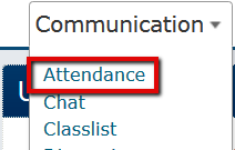 Attendance identified in Communication dropdown list
