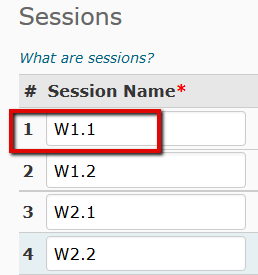 Session name field identified.
