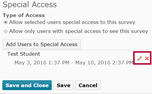 Indicates pencil icon to edit user's special access.