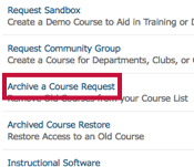 location of Archive a Course Request link