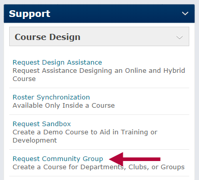 Indicates the Request a Community Group form