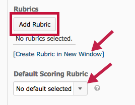 image of add rubric screen