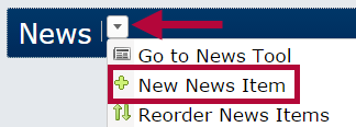 Identifies the New News Item selector.
