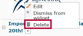 indicates the Delete option.