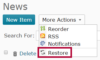 Indicates the Restore function selector.