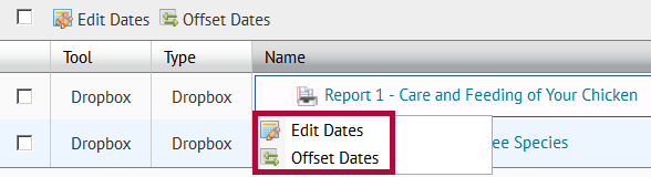 Identifies the Edit Dates and Offset Dates options.