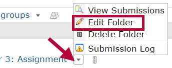 Identifies the Edit Folder selection in the context menu.