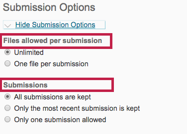 Indicates Submission Options.