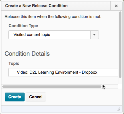 Shows the Create a New Release Condition dialog window.