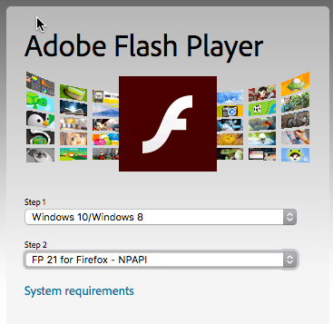 Displays Flash Player download options.