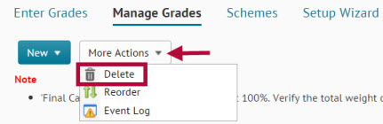 Image shows more actions button on Manage Grades page.