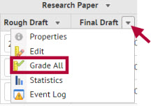 Image shows location of grade item's grade all function.