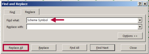 Image shows find and replace dialog box.