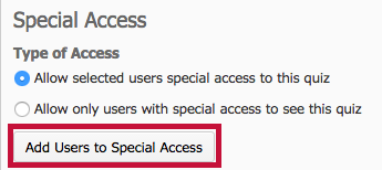 Shows location of Add Users to Special Access button