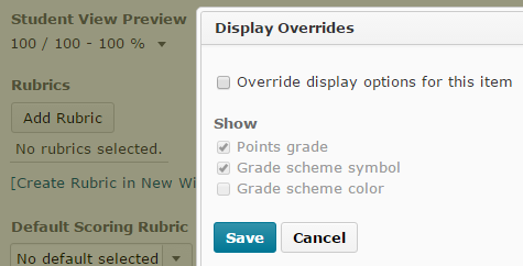 Shows the Override Student View settings available.