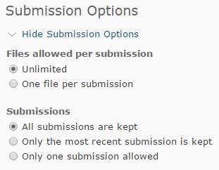 Shows Submission Options.