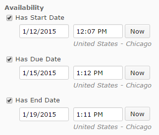 Shows availability date options