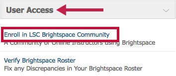 Location of link to Enroll in Brightspace Community