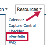 Location of ePortfolio link