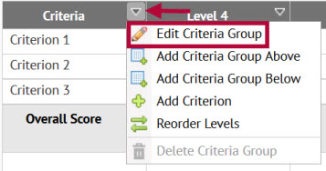 Image shows location of criteria group editing function.