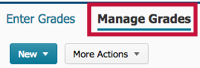Location of Manage Grades tab