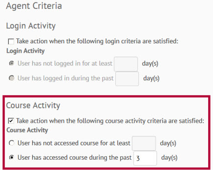 Image shows agent criteria settings.