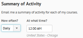 Shows Summary of Activity options.