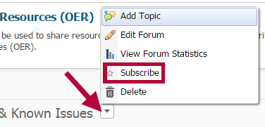 Indicates the context menu and the Subscribe option.