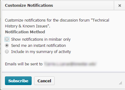 Shows the notifications options for this discussion