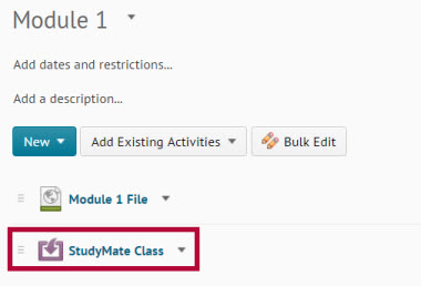 Image shows new StudyMate Class topic in module.
