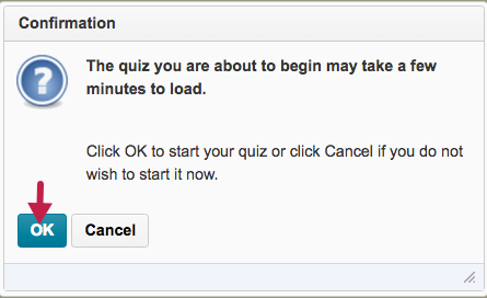screenshot of start quiz confirmation