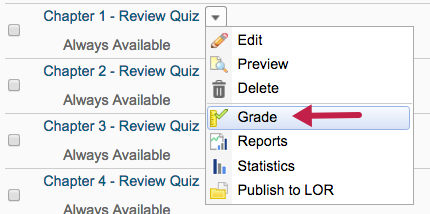 screenshot of grade quiz option