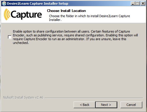 Shows the Choose Install Location dialog box.
