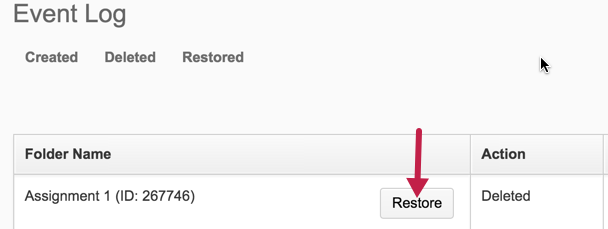 screenshot of the dropbox event log restore button