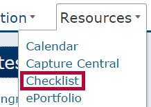 Identifies Checklist in the Resources menu.