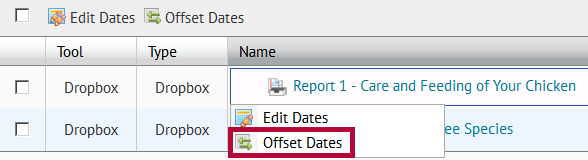 Identifies Offset dates.