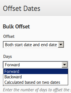 Shows Offset Dates options.