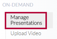 Identifies Manage Presentations button.