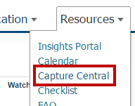 Identifies Capture Central in the menu.
