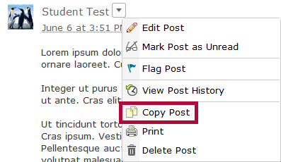 Identifies context menu and Copy Post option.