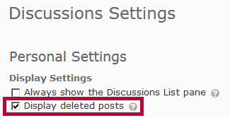 Identifies Display deleted posts option.