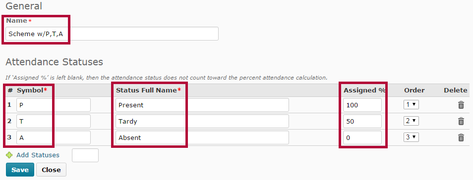 Identifies entry fields for creating a new attendance scheme.