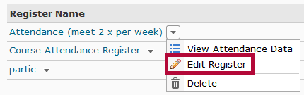 identifies Edit Register option.