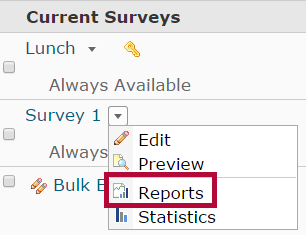 Identifies the Reports option.