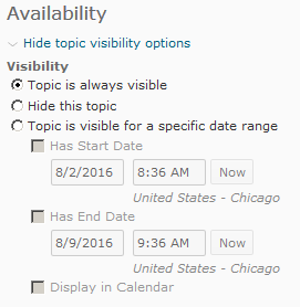 Shows Visibility Options.