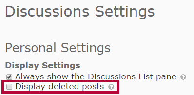 Identifies Display deleted posts checkbox.