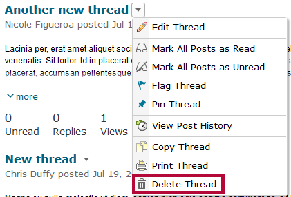 Identifies the Delete Thread option.