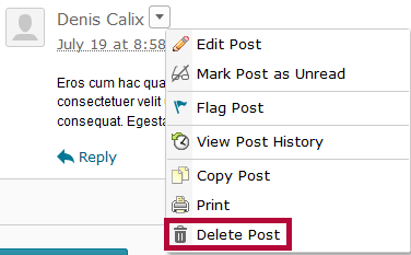 Identifies the Delete Post option.